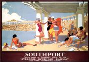 Southport Lido, Merseyside. Vintage LOR Travel poster by Alfred Lambart. c1930